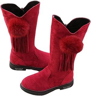 Hopscotch Girls PU Fringe Pom Pom Applique Knee Length Boots - Red