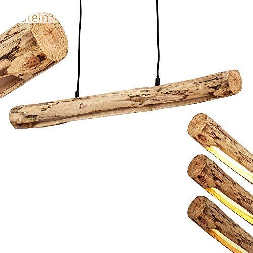 LED Pendelleuchte Winterthur, dimmbare Hängelampe aus Metall/Holz in Schwarz/Natur, Holzbalken höhenverstellbar auf max. 150 cm, 15 Watt, 1245 Lumen, 3000 Kelvin, dimmbar o. Zubehör über Lichtschalter