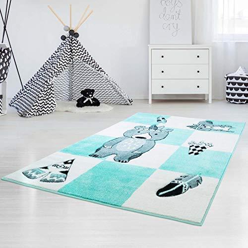 carpet city Kinderteppich Bueno Indianer-Bär Tipi Mint Türkis mit Konturenschnitt, Glanzgarn...
