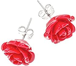 Tartan Twist, Sterling Silver, Agate & Resin - Robert Burns Red Rose Collection Earrings.