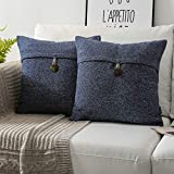 Phantoscope Pack of 2 Farmhouse Throw Pillow Covers Button Vintage Linen Decorative Pillow Cases for Couch Bed and Chair Navy Blue 18 x 18 inches 45 x 45 cm