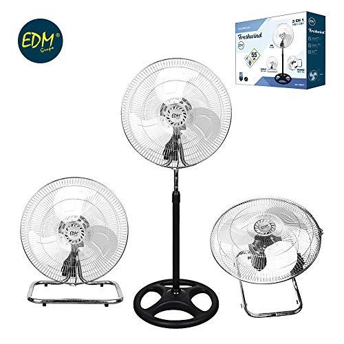 EDM 33937 Ventilador Industrial 3 En 1 para Pie Suelo y Pared 80W, Cromado, 45x165-185 cm
