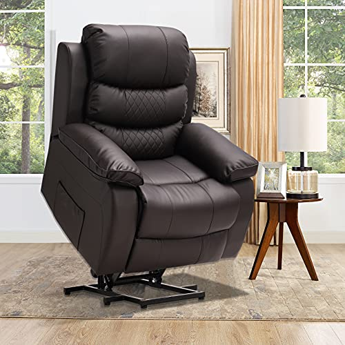 OBBOLLY Electric Power Lift Recliner Chair for Elderly with Massage & Heating, PVC Motorized Recliner Sofa for Living Room with Remote Control, USB Port, Side Pockets, Home Theater Chair (Brown-PVC)