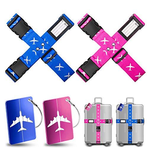 Cinghia per Valigia Yosemy 4 pezzi Cinghie per Bagagli con 2 Tag Bagagli Durevoli Forti Bagagli Cintura Valigia Bagaglio Viaggiare Cinghie Sicurezza (Blu + Rosa)