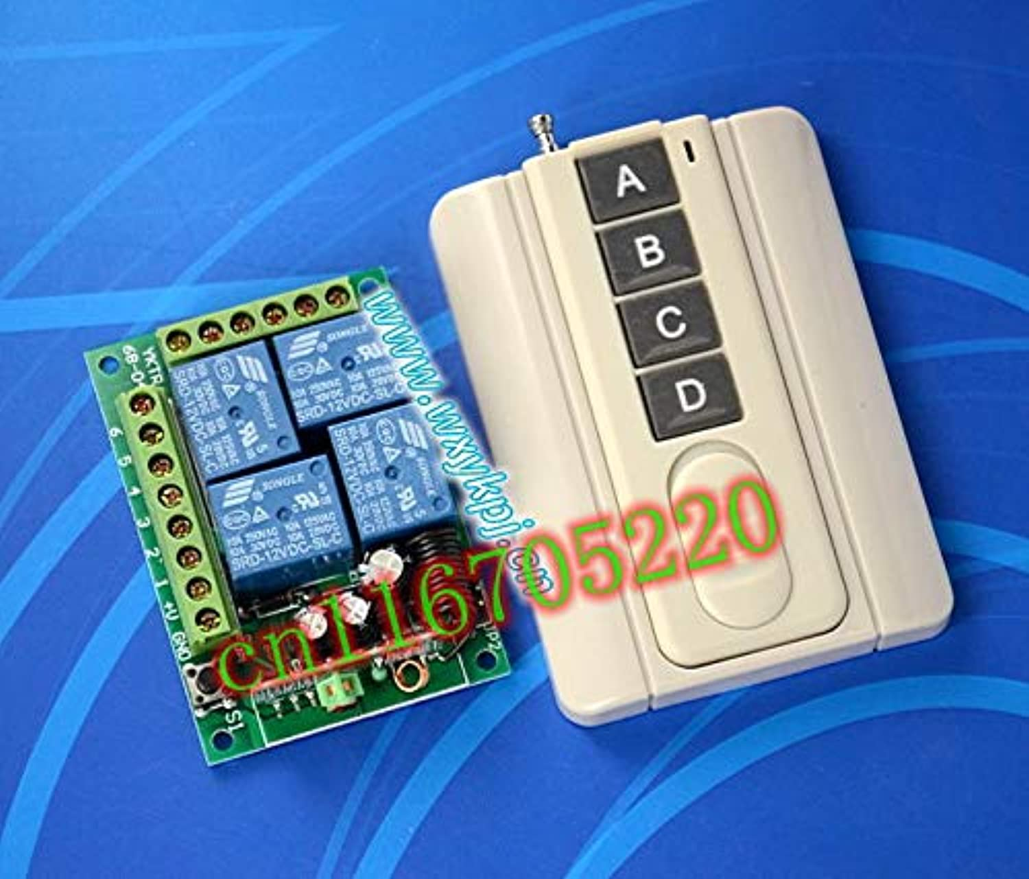 Power Remote Auto Door Opener 12V 4 CH Wireless Remote Control Switch System 12v Transmitter & Receiver 315 433MHZ.