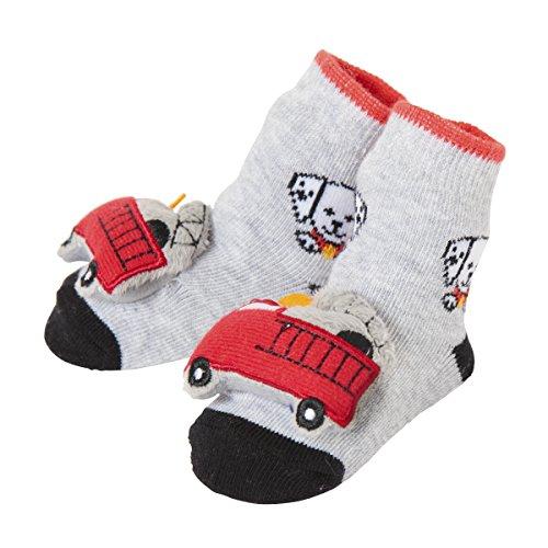 Baby Dumpling C.R. Gibson Fire Trucks Rattle Sock Booties for Newborns, Infants, and Babies - 1 Pair