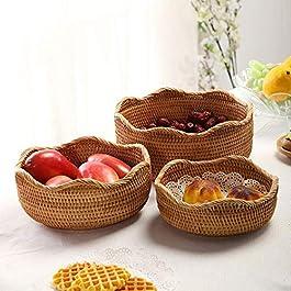 Lot de 3, Panier de Rangement Rond en Rotin, Corbeille de Fruits en Osier, Organisateur Tressé Naturel pour Cuisine…