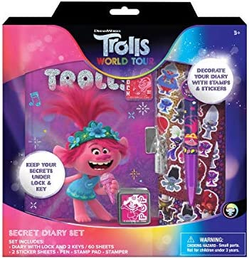 Innovative Designs Trolls World Tour Journal Kids Secret Diary Set w Stickers Pen Stamps product image