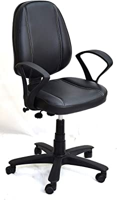 Mezonite Medium Back Black Leatherette Office Executive Chair_Extra Comfort Chair