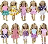 ZITA ELEMENT 10 Sets Vêtements pour American 18 inches Girl Doll, Oufits de Mode Fait à la Main, Robe Quotidienne Partie, Accessoires s'adapte à Poupées 16-18 Pouces