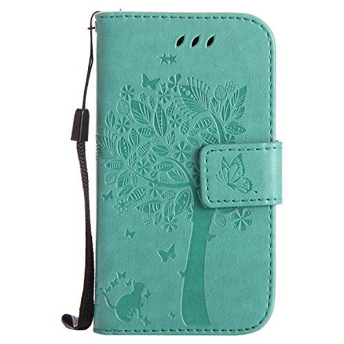 Karomenic Étui de protection à rabat en cuir synthétique pour Samsung Galaxy S3 Mini Motif chat et arbre en relief Vert
