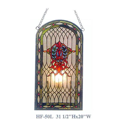 HF-41 Tiffany stijl glas in lood pastorale luxe Trapezoid raam opknoping glazen paneel zonnevanger, 18