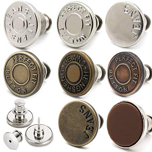 1セット8個 ジーンズにぴったりのボタンピン、 取り外し可能および取り外し可能 ジャンボタンピン縫いなし、 調節可能な金属ボタンは、パンツのウエストを数秒で1インチ増減できます