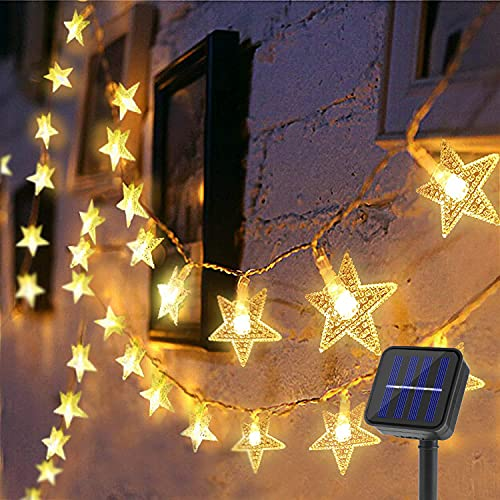 decorazioni natalizie balcone BLOOMWIN Catena Luminosa Solare Luci Solari 6.5M 30 LED con Pannello Solare 8 Modalità Luci Decorative per Giardino Balcone Festa Natale Stelle