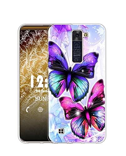 Sunrive Funda Compatible con LG K10 2016, Silicona Slim Fit Gel Transparente Carcasa Case Bumper de Impactos y Anti-Arañazos Espalda Cover(Q Mariposa)