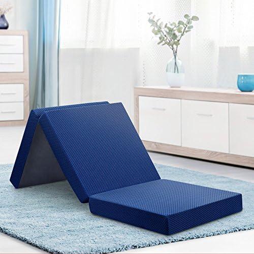Olee Sleep 4 inch Tri Folding Memory Foam Topper Blue Single product image