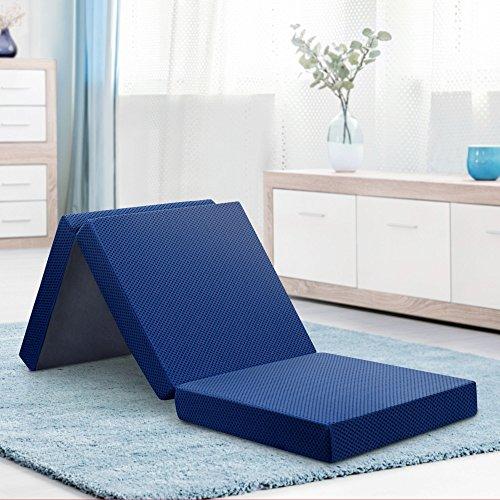 Olee Sleep 4 inch Tri-Folding Memory Foam Topper (Blue) Single