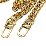 Model Worker DIY Iron Flat Chain Strap Handbag Chains Purse Chain Straps Shoulder Cross Body Replacement Straps with Metal Buckles (47', Gold)