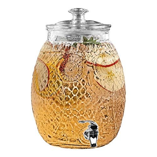 Stylesetter 310366-GB Owl Beverage Cold Drink Dispenser w/ 2.3-Gallon Capacity Glass Jug, Leak-Proof Acrylic Spigot in Gorgeous Gift Box for Parties, 12' H, Clear