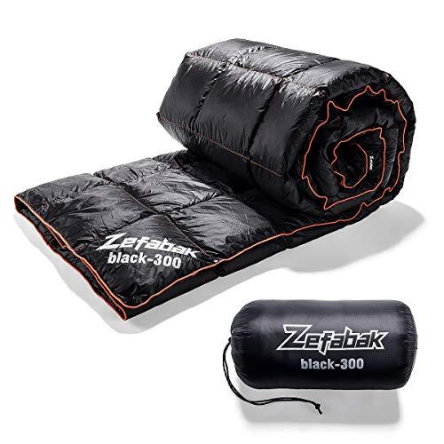 ZEFABAK Manta de plumón para camping, interior y exterior, 600 relleno de pato (300 g-130 x 190 cm)