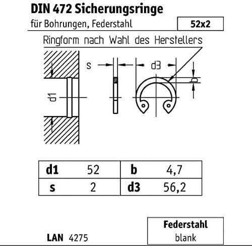 Reidl Sicherungsringe f/ür Bohrungen 52 x 2 mm DIN 472 Stahl blank 1 St/ück