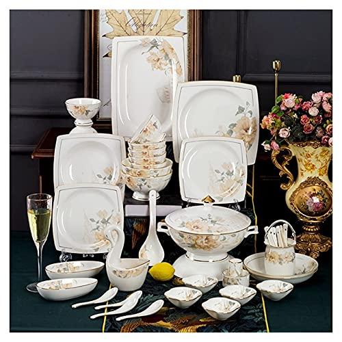 DXDUI Juego de vajillas de cerámica de Borde de Oro Mano Moderno Blanco China Vajilla Floral de cerámica Conjunto Adecuado para el Restaurante Familiar Restaurante 62 Pieza