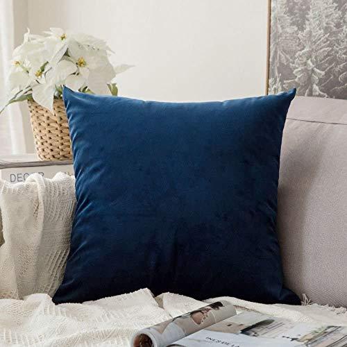 MIULEE Terciopelo Funda de Cojine Funda de Almohada del Sofá Throw Cojín Decoración Almohada Caso de la Cubierta Decorativo Almohadas para Sala de Estar 55 x 55cm 22 x 22 Pulgadas 1 Pieza Azul Oscuro