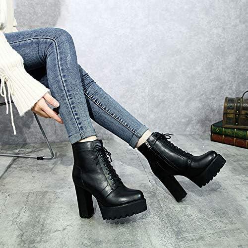 Shukun Botines zapatos de mujer de otoño PU tacón Alto súper Grueso con Botines Impermeables plataforma de Tubo Corto Martin botas botas de mujer