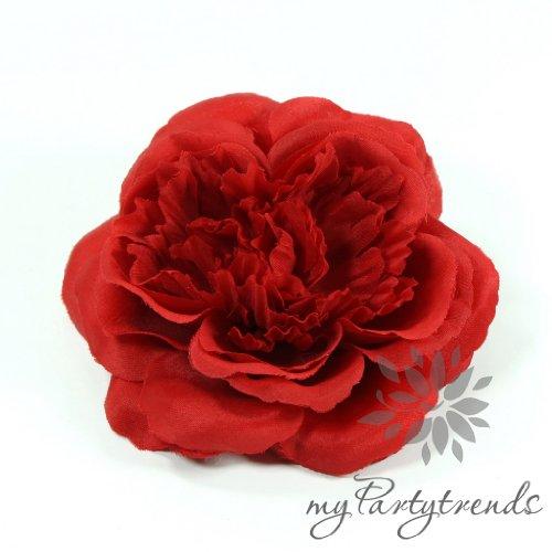 myPartytrends Elegante Haarrose in rubinrot (Ø 12 cm; Höhe 4,5 cm) (Ansteckrose, Haarblume mit Schnabelspange, Haarschmuck)