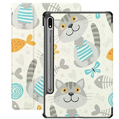 Funda Galaxy Tablet S7 Plus de 12,4 Pulgadas 2020 con Soporte para bolígrafo S, Funda Protectora Tipo Folio con Soporte Delgado para Gatos para Samsung