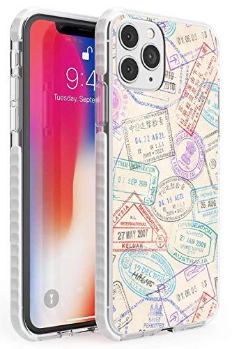 Francobolli d'Epoca Passport Impact Cover per iPhone 11 PRO TPU Protettivo Phone Leggero con Viaggio Wanderlust Vintage ▾ Modello Esplorare
