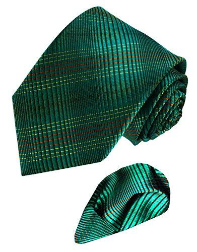 Lorenzo Cana - Marken 2 er Set aus 100% Seide - Fein gestreifte Karo Krawatte mit Einstecktuch Petrol Tuerkis Gruen - 8453601