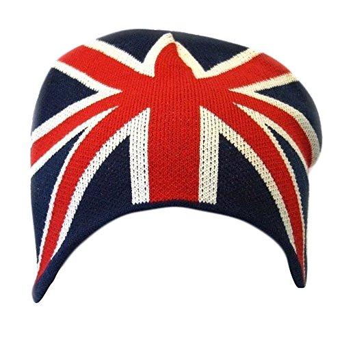 Textiles Universels Bonnet à Motif Union Jack - Homme (Taille Unique) (Bleu/Blanc/Rouge)