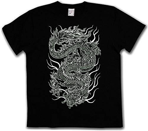 Chinese Tattoo Draak Tshirt Azië Drache Flash Oldschool Rockabilly Tshirt
