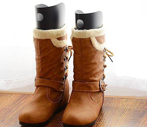 2Pairs Schuhbäume Hohe kurze Stiefel-Former-Baum-Einsätze Knie-hohe Schuhe Schenkel-Stiefel-Halter-Unterstützung für Frauen-Dame die meisten Schuhe Stiefel-Unterstützung Schwarz (25cm)