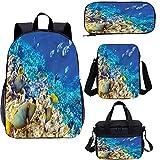 Juego de bolsas de libros escolares para niños de 38 cm, de corales acuáticos, 4 en 1