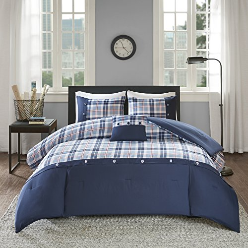 Comfort Spaces Harvey Comforter Set Perfect for College Dormitory, Guest Room Bedding, Twin/Twin XL, Plaid Blue