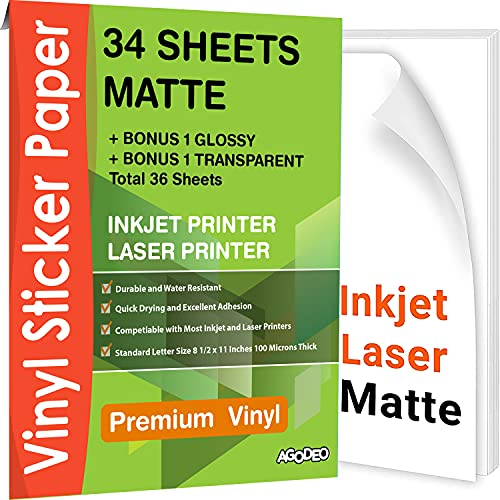 Premium Printable Vinyl Sticker Paper for Inkjet & Laser Printer - 34 Sheets Self-Adhesive Sheets Matte White Waterproof, Dries Quickly Vivid Colors, Holds Ink well- Tear Resistant