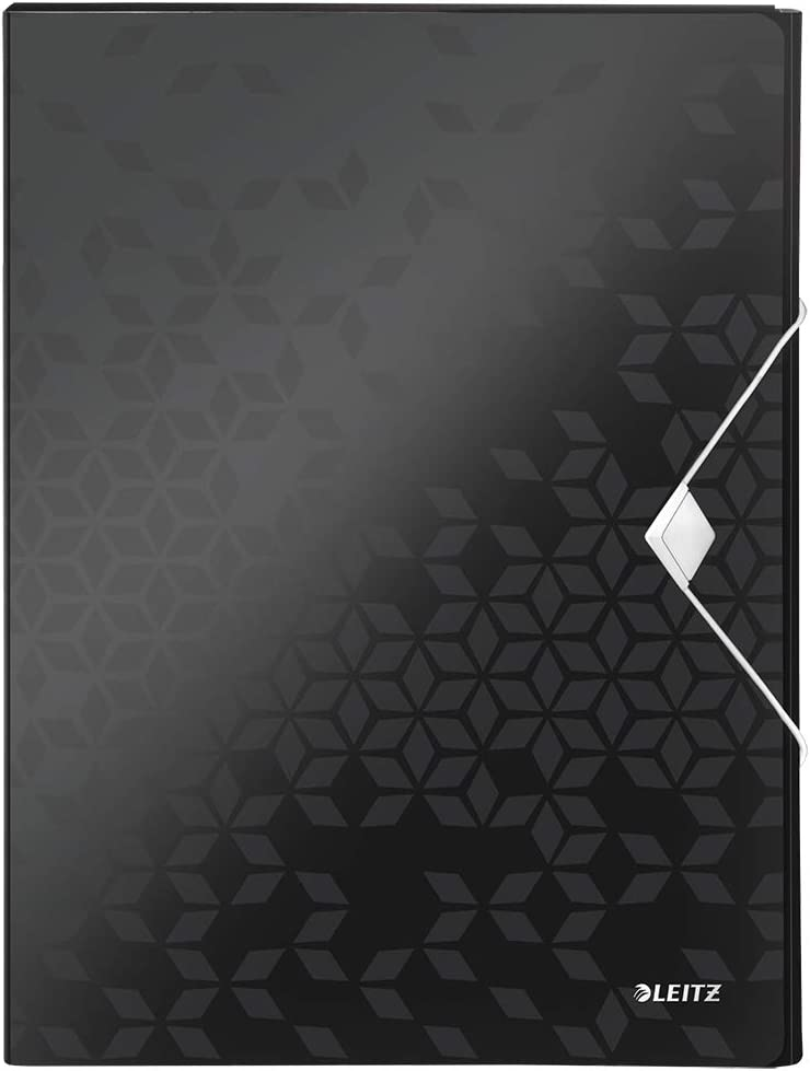 color negro Esselte-Leitz 621064 10 compartimentos Clasificador de documentos con tapa de pl/ástico