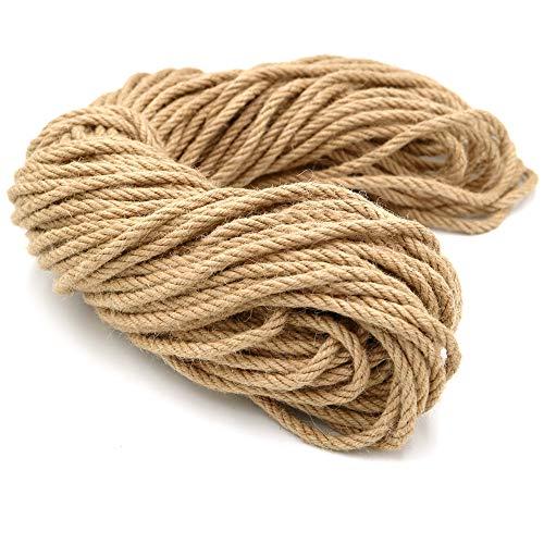 Cuerda de cáñamo 6 mm, Cuerda de Yute de jardín de 50m de Grosor, Arte Artesanal, para empaquetar Regalos en el jardín