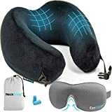 Luxury Travel Neck Pillow Sleep Kit - 100% Memory Foam Travel...