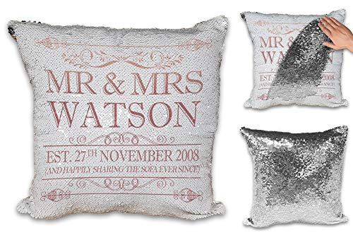 Personalised Happily Sharing The Sofa Together Anniversary Novelty Sequin Reveal Magic Cushion Cover (Rose Gold Design)