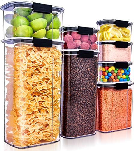 Large Airtight Food Storage Containers Set of 8 Air Tight Containers for Food Flour Container Flour Storage Containers for Pantry Storage Containers Airtight Containers for Food Pantry Containers