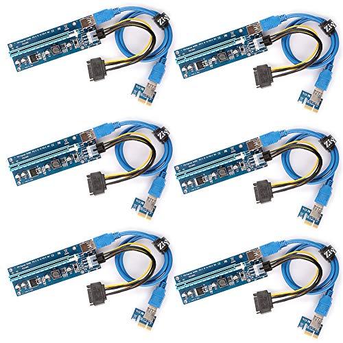 Ziyituod 6-Pack PCIe Riser-Adapterkarte, PCI-E Riser 1X bis 16X Grafikerweiterung für GPU Mining mit 6-poligem SATA-Netzteil, 60 cm USB 3.0-Verlängerungskabel - Ethereum Mining ETH