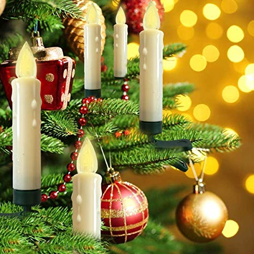 Hoolees' LED Clip-on Christmas Tree Candle Lights, Candle Christmas Tree, Battery Operated, Remote Control, Perfect Size for Christmas Tree, Wreath, Garland Decors and Ornaments.(10Pcs)