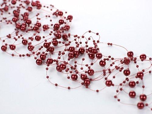 Perlengirlande 5 Stück á 1,3m Tischdeko Hochzeit Taufe Weihnachten (Rot)