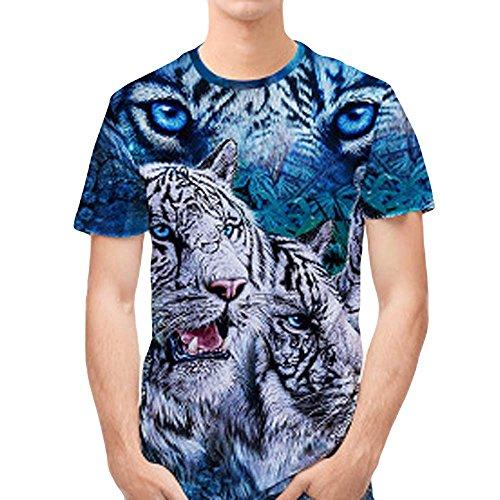 FRAUIT heren 3D print tijger casual korte mouwen hemd met top blouse mannen t-shirt zwart modern mannen oversize ronde hals T-shirt basic slim fit kwaliteit top blouse overhemd