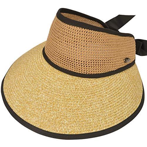 Maylisacc Sun Visors for Women, Adjustable Ladies Wide Brimmed Straw Sun Visor Hat with Bowknot Ribbon, Foldable Summer Beach Sunvisors, Khaki
