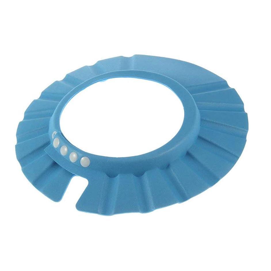 フォーマル友だちエイリアンOnior プレミアム品質漏れ防止ベビーシャワーバイザー安全シャンプーシャワージェルバス保護シャワーキャップソフト調整可能なサンバイザーに適し赤ちゃん、幼児、子供 - 青