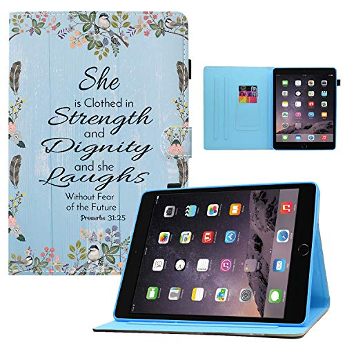 iPad Mini 5 Case 2019,iPad Mini 4/3/2/1 Case,Christ Quotes Bible Verse Proverbs 31:25 Design Card Slot PU Leather Soft TPU Protective Case with Pen Holder Auto Wake Sleep for iPad Mini 5/Mini 4/3/2/1